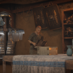 Recreación en 3D de una escena ambientada en el interior de una tienda militar romana